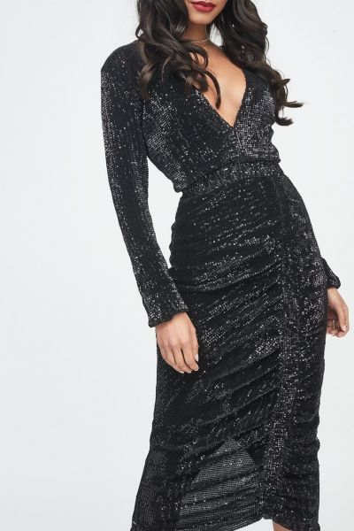 Lavish Alice Pleated Sequin Ruched Side Dress